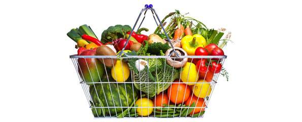 Shopping basket fruit and vegetables