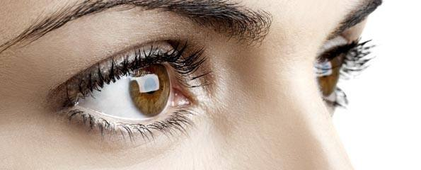 Close-up of woman's beautiful brown eyes